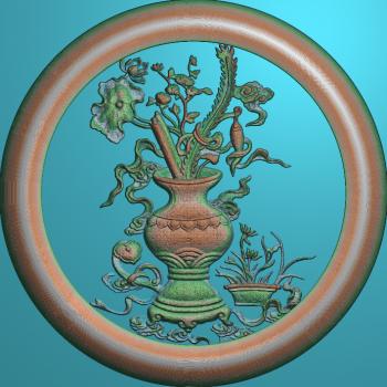 花瓶荷花圆框