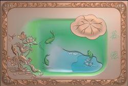 荷花鲤鱼茶盘