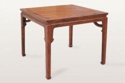 明式黄花梨霸王枨方桌+明式黄花梨高靠背南官帽椅
