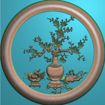 花瓶梅花圆框