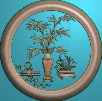 花瓶竹圆框