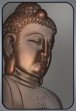 侧面佛祖头像灰度图
