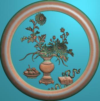 花瓶菊花圆框
