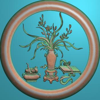 花瓶兰花圆框