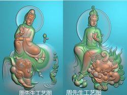 普贤文殊菩萨骑象坐象自在观音精雕图