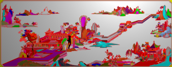 锦绣沙发大山水图
